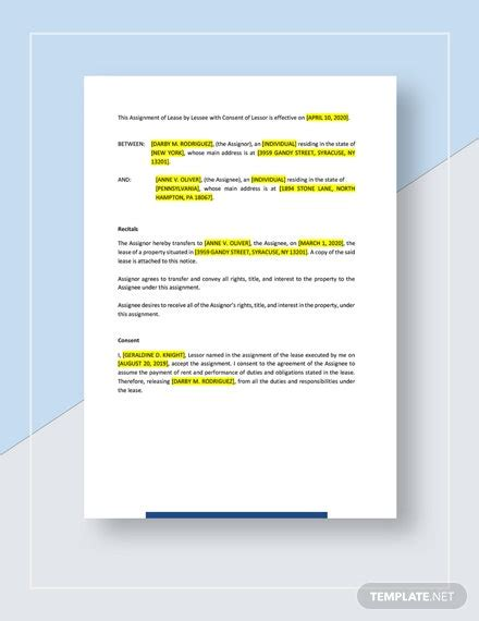 Assignment of Lease by Lessee With Consent of Lessor ...