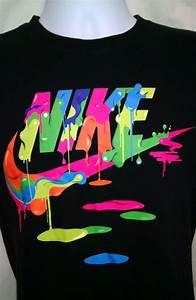 Nike Rainbow Swoosh Logo Paint Black Short Sleeve Graphic ...