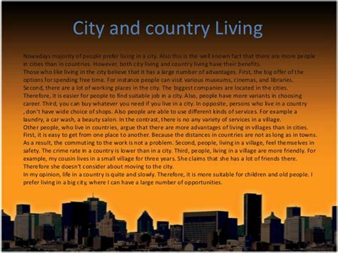Living In The City Versus Country