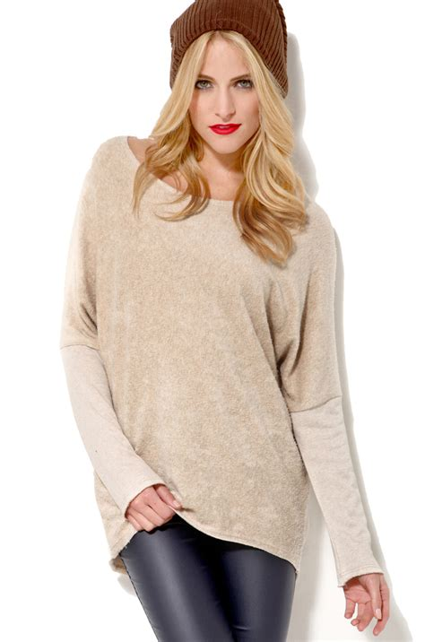 oversized sweater oversized tunic sweater in beige lyst