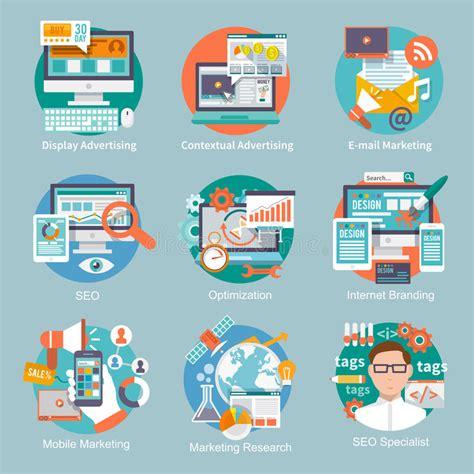 seo advertising seo marketing flat icon stock vector image