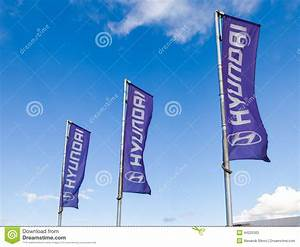 The Flags Of Hyundai Over Blue Sky Editorial Stock Photo ...