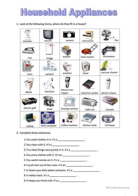 household appliances worksheet  esl printable
