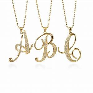 Gold tone initial letter fashion pendant n740 for Gold letters jewellery