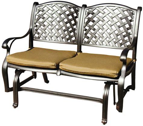 Patio Loveseat Glider by Patio Furniture Glider Cast Aluminum Loveseat Nassau