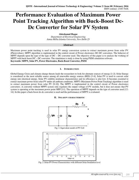 Performance Evaluation Maximum Power Point Tracking