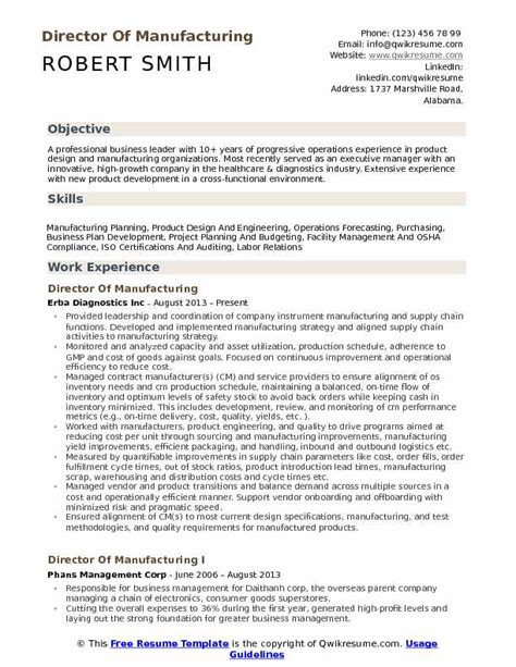 director of manufacturing resume sles qwikresume