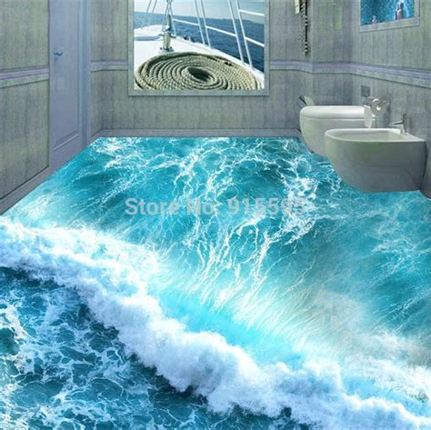 Custom Floor Mural 3D Stereoscopic Ocean Seawater Bedroom