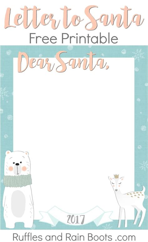letters from santa 2017 letter to santa free printable 2017 ruffles and boots 71490