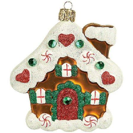 gingerbread house polish glass christmas ornament