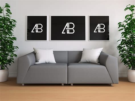 Living Room Gallery (3 Posters) Mockup Mockupworld