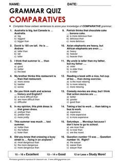 Grammar Review Quiz Comparatives And Superlatives