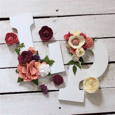 wooden letter initial felt flowers wall hanging rustic decor monogram decorative wooden