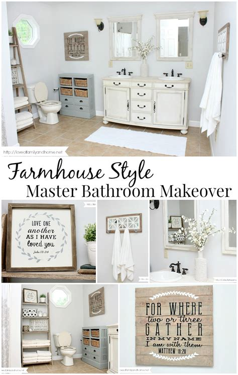 farmhouse style bathroom makeover of family home