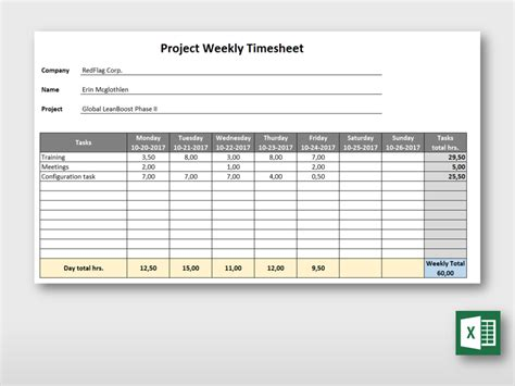 simple weekly project timesheet form