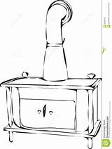 Stove Wood Burning Template Outlines Coloring Pages Vector sketch template