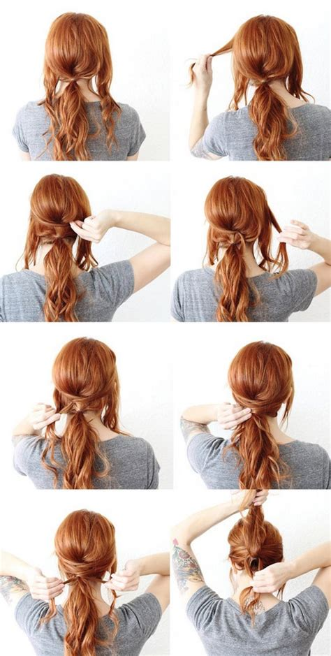 peinados sencillos  cabello largo recogido