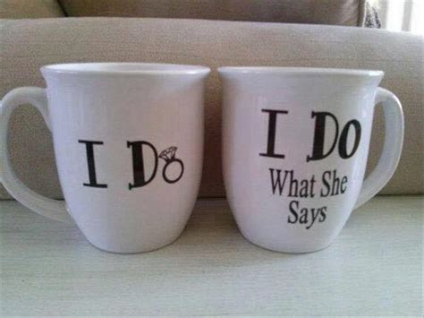 Matching 'I Do' coffee cups for happily married couples.   RealFunny