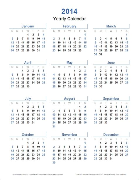 2014 Year Calendar Template by 2014 Printable Yearly Calendar Icebergcoworking