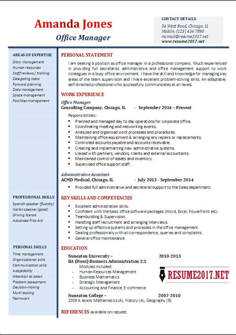 office manager resume exles 2017