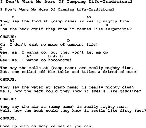 Summer Camp Song, I Don't Want No More Of Camping Lifetraditional, With Lyrics And Chords For