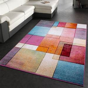 tapis de createur moderne colore motif a carreaux With tapis moderne coloré