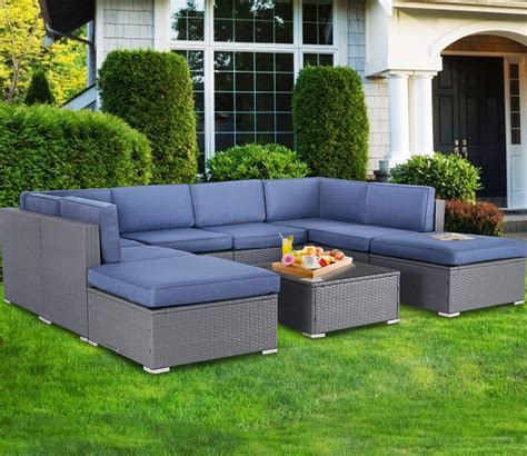 The table is fully handmade, and the craftsmanship adds to its spectacular retro style. SUNCROWN Outdoor Furniture 9-Piece Patio Sofa Modular Sectional Gray Wicker Conversation Set ...