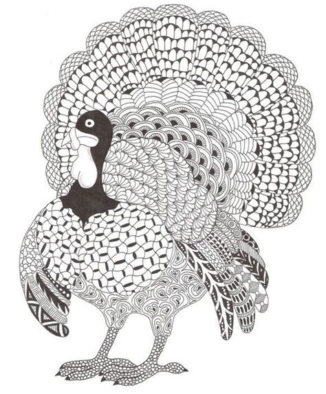 adult coloring page thanksgiving turkey holiday