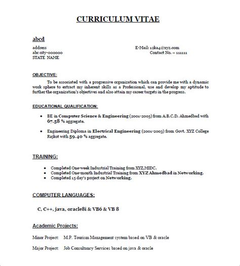 Format Of Simple Resume For Freshers by 16 Resume Templates For Freshers Pdf Doc Free