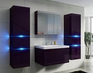 Badezimmer Spiegelschrank Led : kaufexpert badm bel set prestige aubergine hochglanz lackiert keramik waschbecken badezimmer ~ Indierocktalk.com Haus und Dekorationen