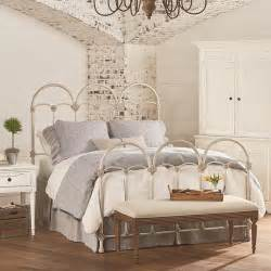 french inspired rosette iron queen bed  antique white