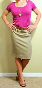 Outfit Posts guest post - v pink top khaki pencil skirt brown peep-toed pumps