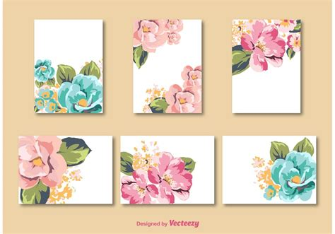 Set of flower vector templates for cards and invitations