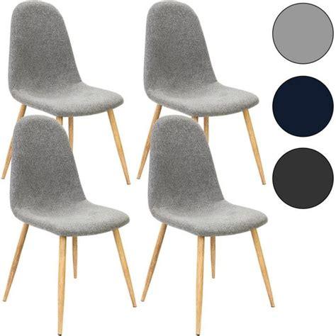4x chaise design revêtement en tissu gris clair achat