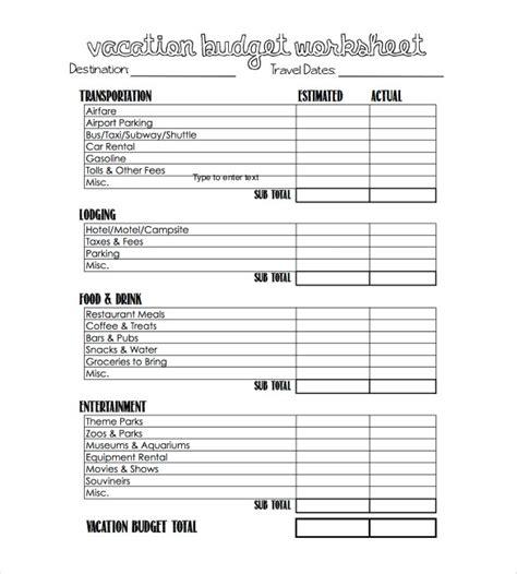 travel budget template   templates study