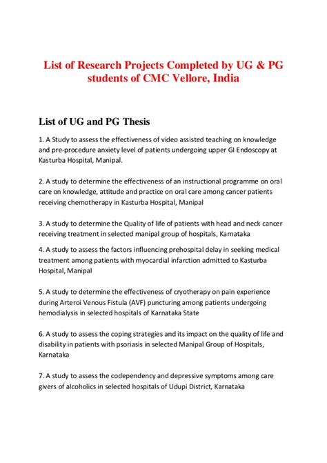 list  research projects cmc vellore