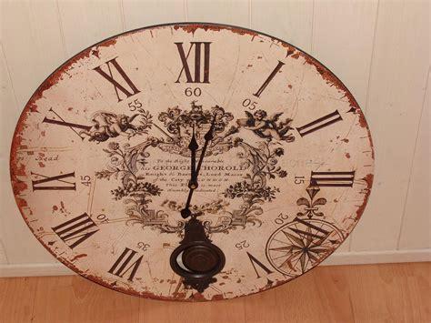 Vintage Cream Pendulum Large Wall Clock