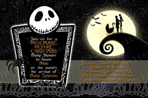 nightmare before christmas baby shower invitation by