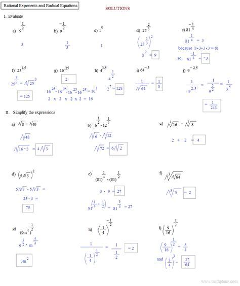 rational exponents worksheets algebra 2 radical