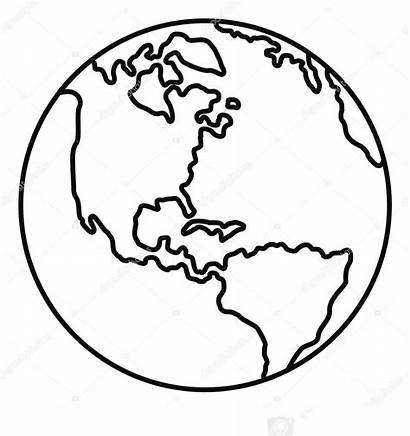 Earth Planet Clipart Drawing Outline Line Coloring