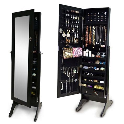Black Standing Mirror Jewelry Armoire by Black Mirror Jewelry Armoire Cabinet Storage Floor
