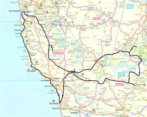 Carte Cote Ouest by West Coast Usa Tour Map