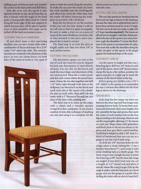 mackintosh chair plans woodarchivist