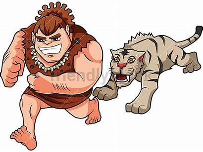 Caveman Chased Cartoon Clipart Wild Vector Animal