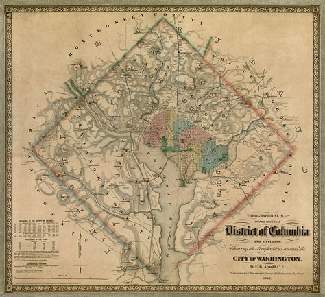 antique map  washington dc  colton