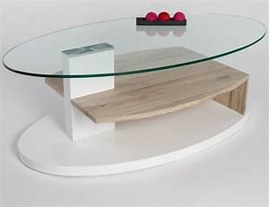 Table Basse Blanche Et Verre : table basse verre et bois design table salon avec tiroir maisonjoffrois ~ Teatrodelosmanantiales.com Idées de Décoration