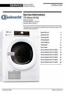 Bauknecht Tr Move 91a2 Dryer Service Manual And