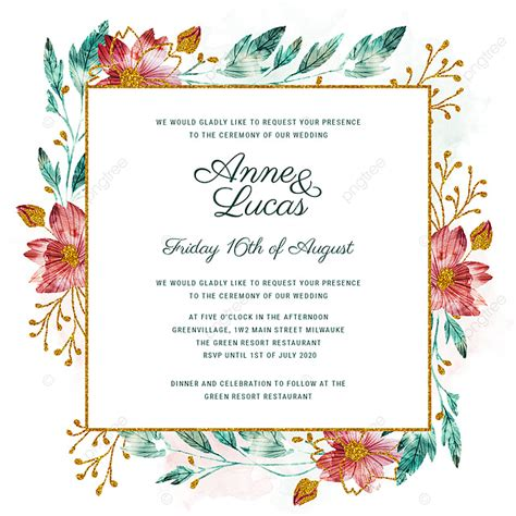 Watercolor And Gold Glitter Floral Wedding Invitation