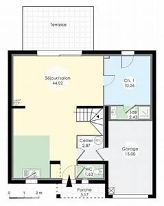 le plan du rez de chaussee nous montre un immense salon With plan de maison 3 chambres salon