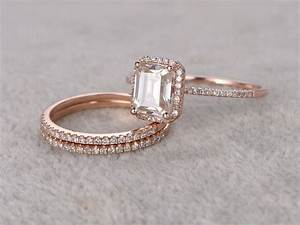 Emerald Cut Moissanite Engagement Rings Diamond Wedding ...